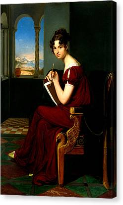 Young Lady With Drawing Utensils Canvas Print