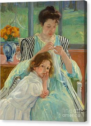 Ceramic Canvas Print - Young Mother Sewing by Mary Stevenson Cassatt