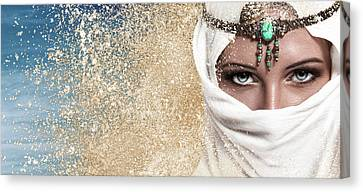 Young Woman Arabic Style Fashion Look Canvas Print by IPolyPhoto Art