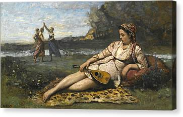 Young Women Of Sparta Canvas Print by Jean-Baptiste-Camille Corot