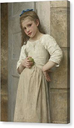 Yvonne On The Doorstep Canvas Print by William-Adolphe Bouguereau