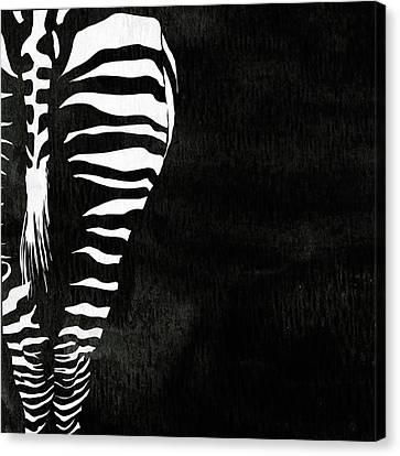 Zebra Animal Black And White Decorative Poster 1 - By  Diana Van Canvas Print