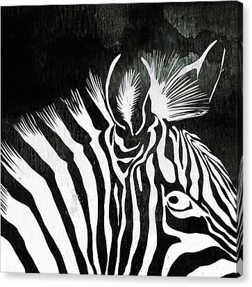 Zebra Canvas Print - Zebra Animal Black And White Decorative Poster 5 - By  Diana Van by Diana Van