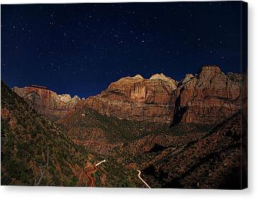 Zion Under The Stars Canvas Print by Andrew Soundarajan