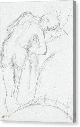 Naked Canvas Print - After The Bath by Edgar Degas