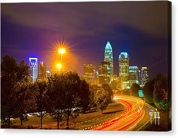 Downtown Of Charlotte  North Carolina Skyline Canvas Print by Alex Grichenko