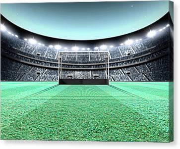 Lamp Post Canvas Print - Floodlit Stadium Night by Allan Swart
