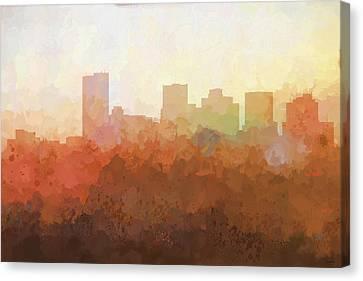 Canvas Print featuring the digital art Phoenix Arizona Skyline by Marlene Watson