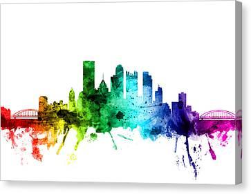 Michael Canvas Print - Pittsburgh Pennsylvania Skyline by Michael Tompsett