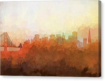 Canvas Print featuring the digital art San Francisco California Skyline by Marlene Watson