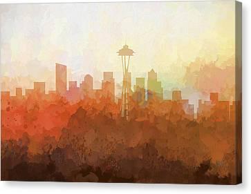 Canvas Print featuring the digital art Seattle Washington Skyline by Marlene Watson