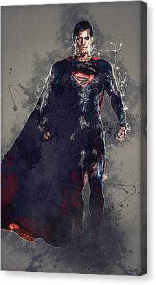 Superman Canvas Print by Elena Kosvincheva