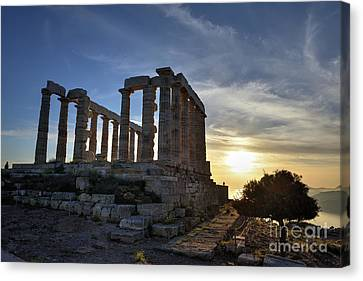 Temple Of Poseidon During Sunset Canvas Print by George Atsametakis