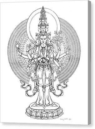 1000-armed Avalokiteshvara Canvas Print by Carmen Mensink