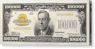 $100,000 Bill Circa 1934 Canvas Print by Jon Neidert