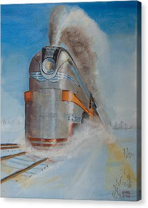 104 Mph In The Snow Canvas Print by Christopher Jenkins
