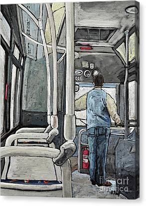 107 Bus On A Rainy Day Canvas Print by Reb Frost