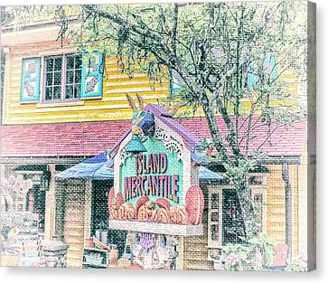 Store Fronts Canvas Print - 10768 Island Mercantile by Pamela Williams