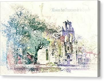 Christian Sacred Canvas Print - 10858 Mission San Fransico De La Espada by Pamela Williams