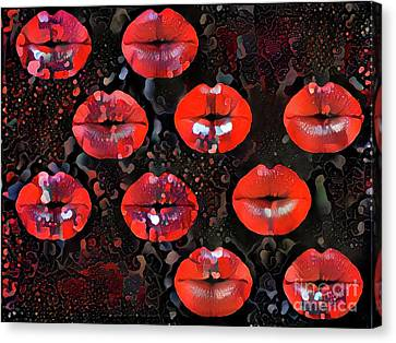 Kissing Lips Canvas Print by Amy Cicconi