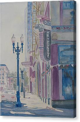 10th And Washington Or The Carpet Seller Canvas Print by Jenny Armitage