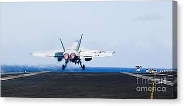 An Fa-18e Super Hornet Launches Canvas Print by Stocktrek Images
