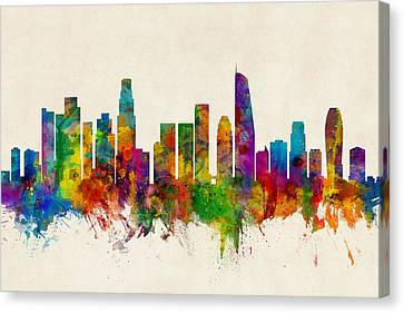 Los Angeles California Skyline Canvas Print by Michael Tompsett