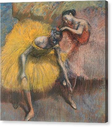 Dance Ballet Roses Canvas Print - Two Dancers by Edgar Degas