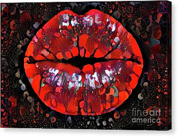 Women Canvas Print - Kissing Lips by Amy Cicconi