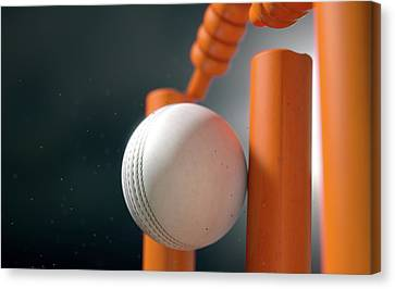 Cricket Ball Hitting Wickets Canvas Print by Allan Swart