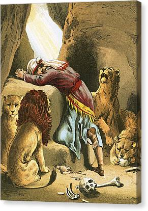 Daniel In The Lion's Den Canvas Print by English School