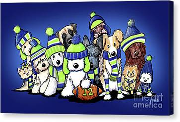 12 Dogs On Blue Canvas Print by Kim Niles
