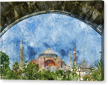 Hagia Sophia In Istanbul Turkey Canvas Print by Brandon Bourdages