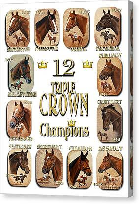 Horse Racing Canvas Print - 12 Triple Crown Champions by Pat DeLong