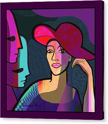 1296 - Tough Lady With Masks 2017 Canvas Print by Irmgard Schoendorf Welch