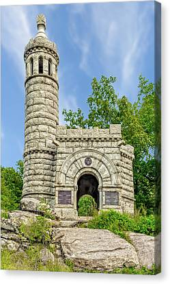 Canvas Print featuring the photograph 12th And 44th New York Infantry Monument Gettysburg  -  12-44thnymonument122215 by Frank J Benz