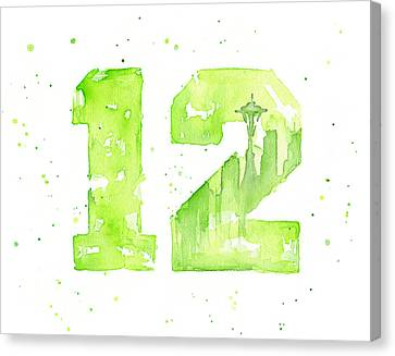 12th Man Seahawks Art Go Hawks Canvas Print by Olga Shvartsur