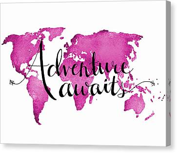12x16 Adventure Awaits Pink Map Canvas Print by Michelle Eshleman