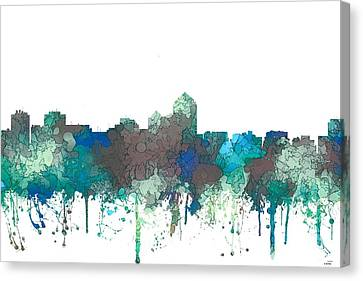 Canvas Print featuring the digital art Albuquerque New Mexico Skyline by Marlene Watson