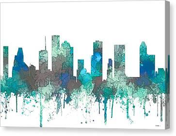 Canvas Print featuring the digital art Houston Texas Skyline by Marlene Watson