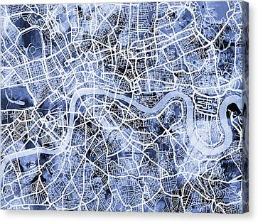 London City Map Canvas Print - London England Street Map by Michael Tompsett