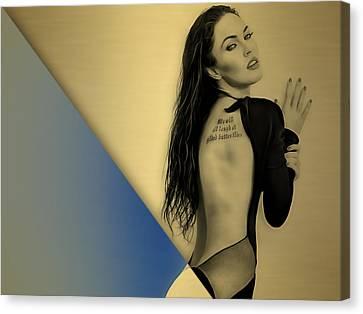 Fox Canvas Print - Megan Fox Collection by Marvin Blaine