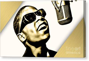 Musicians Canvas Print - Stevie Wonder Collection by Marvin Blaine