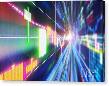 Canvas Print featuring the photograph Stock Market Concept by Setsiri Silapasuwanchai