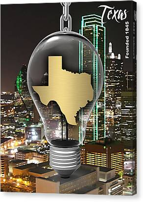 Dallas Canvas Print - Texas State Map Collection by Marvin Blaine