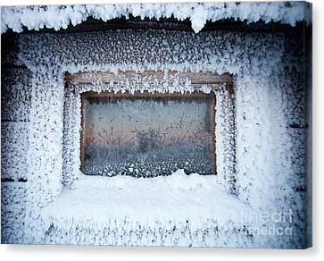 Cabin Window Canvas Print - Winter In Lapland Finland by Kati Finell