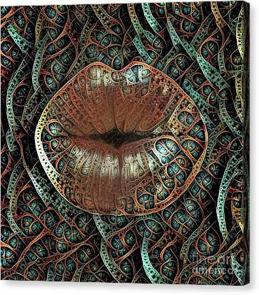 Feminine Canvas Print - Kissing Lips by Amy Cicconi