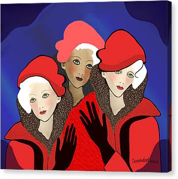 1391 - Three Chicks In Red 2017 Canvas Print by Irmgard Schoendorf Welch