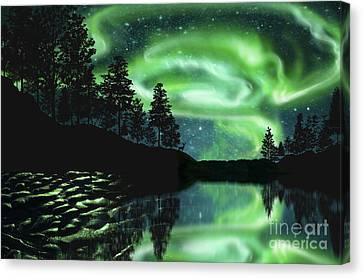 Canvas Print featuring the photograph Aurora Borealis by Setsiri Silapasuwanchai