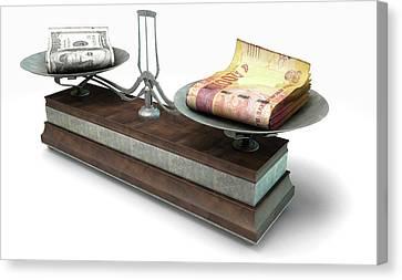 Balance Scale Comparison Canvas Print by Allan Swart